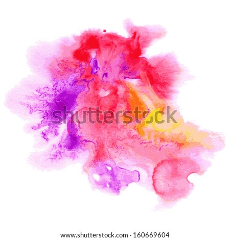 Abstract watercolor hand painted background in pink colors. Vector - stock vector