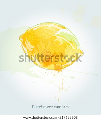 Abstract watercolor lemon illustration - stock vector