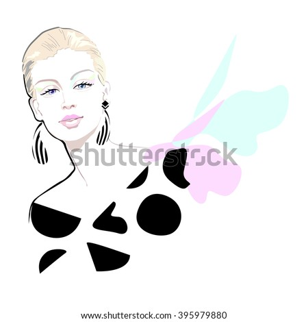 Abstract watercolor portrait of a girl (model), dress polka dot scarf (green, pink), striped earrings (black, white), spring summer fashion, beauty logo - stock vector