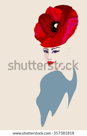 Abstract watercolor portrait of women in hat form of a red poppy, beauty fashion  logo, makeup , beautiful face,  Color vector prints - stock vector