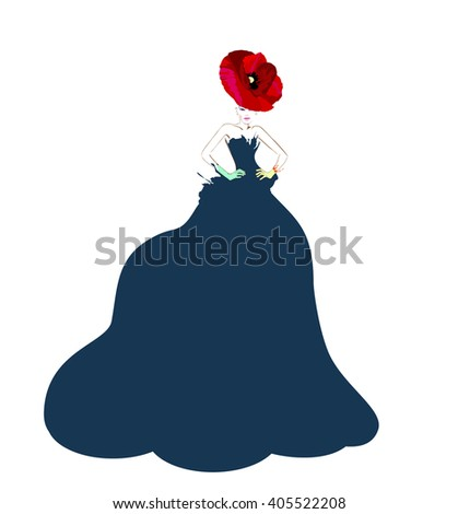 Abstract watercolor portrait of young women (model) with red hats (poppies), creative make-up, blue  dress, beauty, logo fashion, trendy stylish texture spring summer, fashion week - stock vector