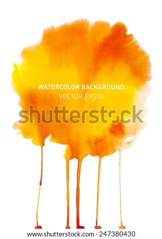 Abstract watercolor rainbow gradient background. Hand drawn colorful painting on texture paper with streaming paint. Vector illustration. - stock vector