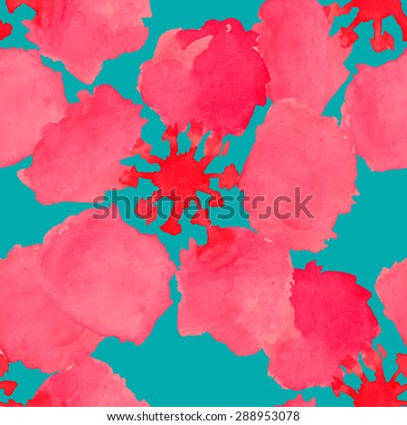 Abstract watercolor seamless pattern with sakura tree and rose flowers and leaves. Can be used for web pages, identity style, printing, invitations, banners. Raster version. - stock vector