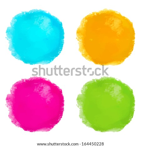 Abstract watercolor set spots isolated on white background. Hand painting - vector - stock vector