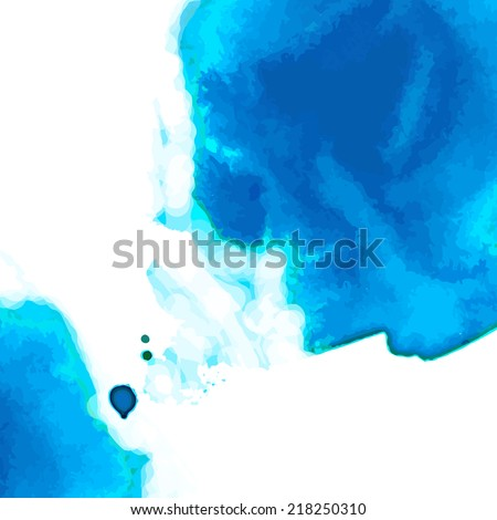 Abstract watercolor vector splashes. Blue blot background. Water painting.