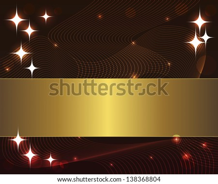 Abstract wave background with gold banner and stars. 10eps. Vector illustration.