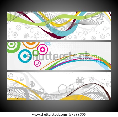 Abstract wave banners multi-colored, vector illustration. - stock vector