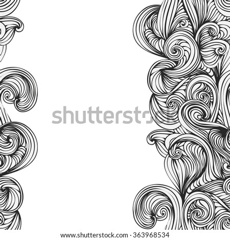 abstract wave hand-drawn pattern. seamless texture. wave background - stock vector