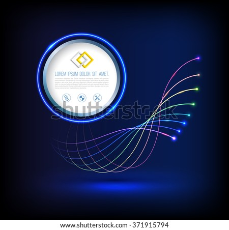 Abstract wave of fiber optic technology connections concept  with circle. - stock vector