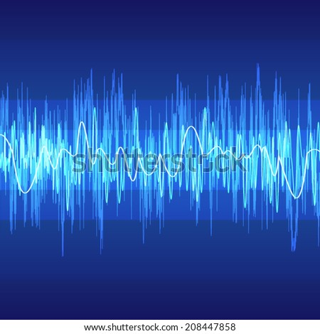 abstract wave pattern on blue background (vector) - stock vector