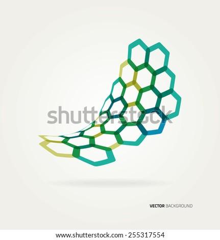 Abstract wave Vector hexagons template.  - stock vector
