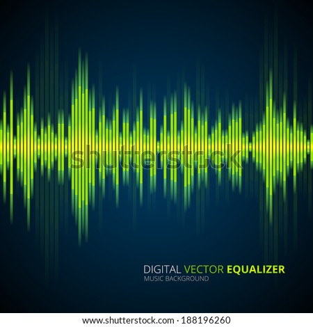 Abstract waveform music equalizer, vector background - stock vector