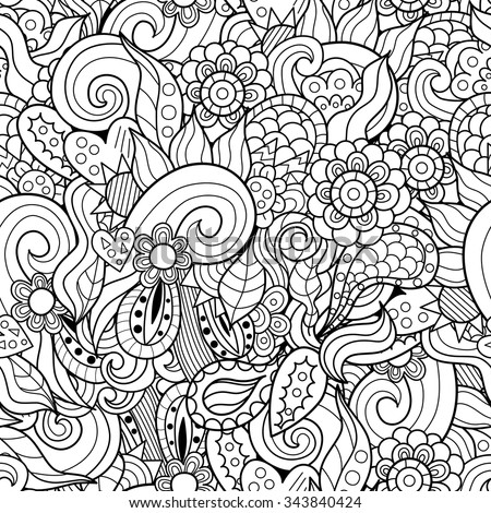 Abstract waves and flowers hand-drawn seamless pattern. Black and white doodles vector texture - stock vector