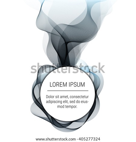 Abstract waves with round text element on white background. Background, poster or  brochure template.