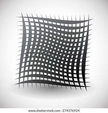 Abstract wavy grid, mesh of curved lines with twisted, spirally effect. Artistic black and white element on white. - stock vector