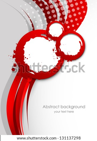 Abstract wavy red background - stock vector