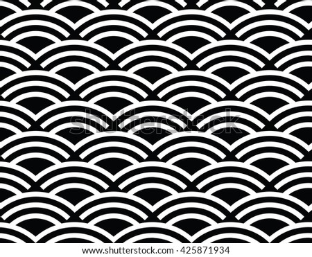 Abstract wavy seamless pattern, vector lines wave. Black and white background