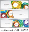Abstract Web Banners strokes and circles. Eps10 .Image contain transparency and various blending modes - stock vector
