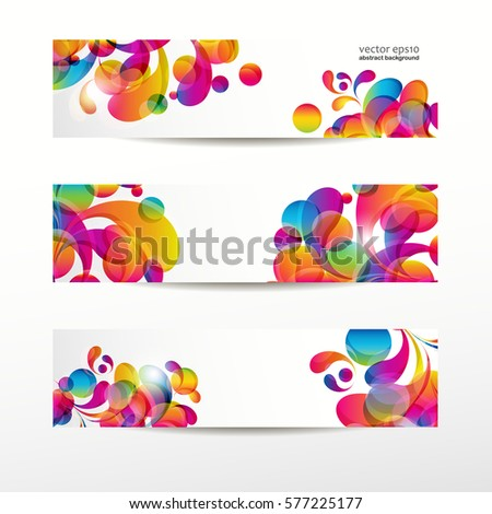 Abstract web banners with colorful arc-drop for your www design
