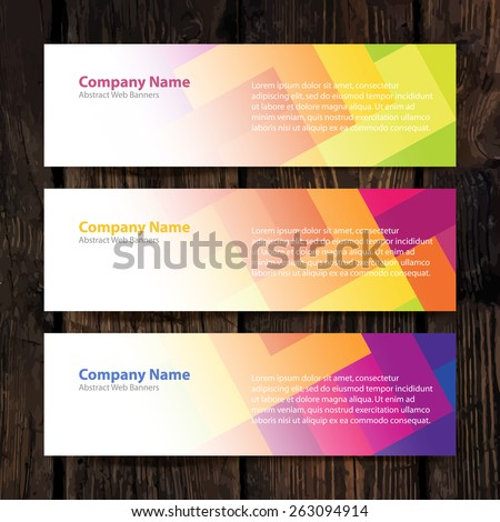 Abstract Web Banners with colorful cells and Wooden Background. Design Set - stock vector
