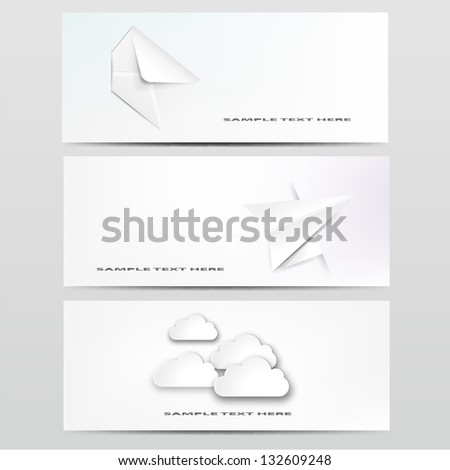 Abstract web design background with clouds with different paper object.EPS10 vector illustration. - stock vector
