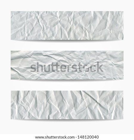 Abstract website header set. Crumpled paper texture banners. Vector illustration  - stock vector