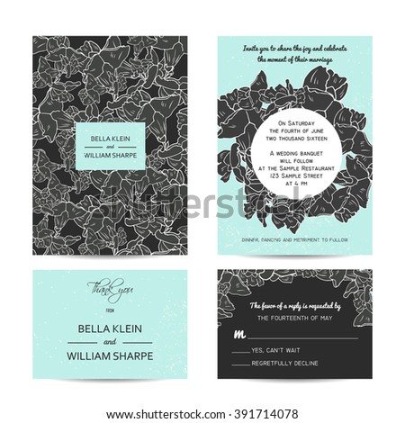abstract wedding floral set with invitation and rsvp cards - stock vector