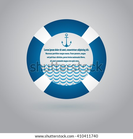 Abstract white and blue lifebuoy background with copy space. - stock vector