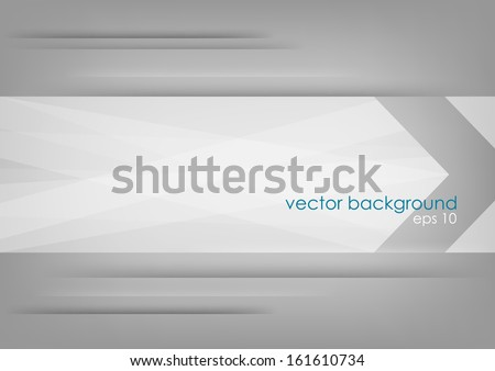 Abstract white arrow on grey background. Vector version. - stock vector
