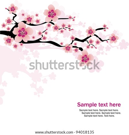 abstract white background with cherry blossom and text - stock vector