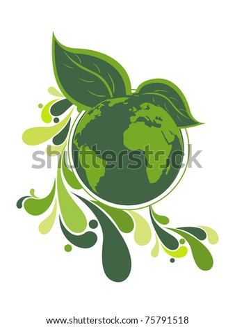 abstract white background with globe, leaf and creative artwork - stock vector