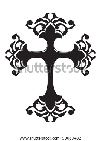 abstract white background with isolated black cross - stock vector