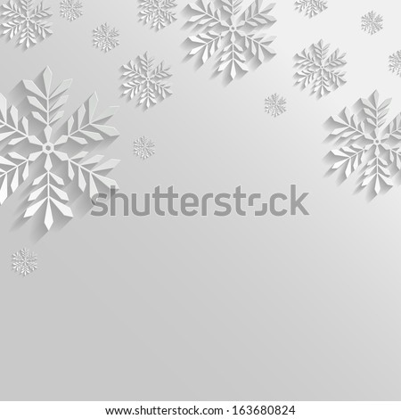 Abstract White Background with Snowflakes - stock vector