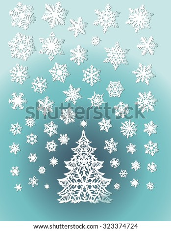 Abstract White Christmas Tree with Snowflakes on Blue gradient Background, Flat Design. Vector Illustration EPS10 - stock vector