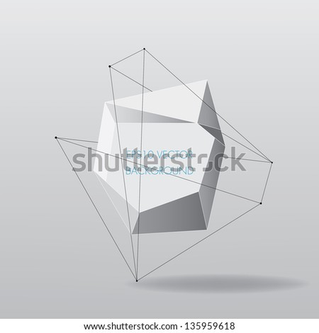 Abstract white geometric background with lines, vector illustration - stock vector