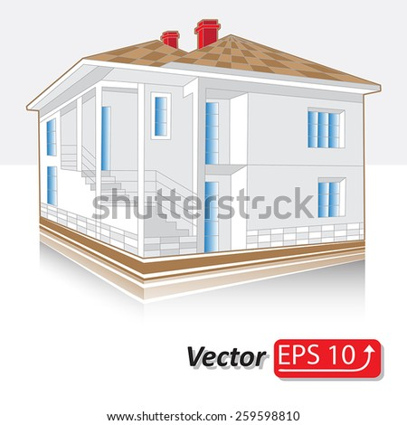 abstract  white grey  with brown roof icon of cottage cool detailed country house isolated on white background Architectural 3d vector illustration