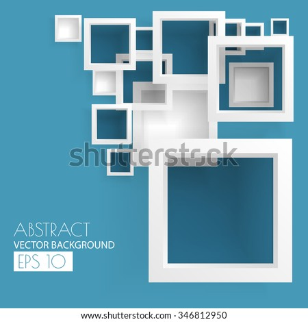 Abstract white minimalistic squares on blue background, vector illustration