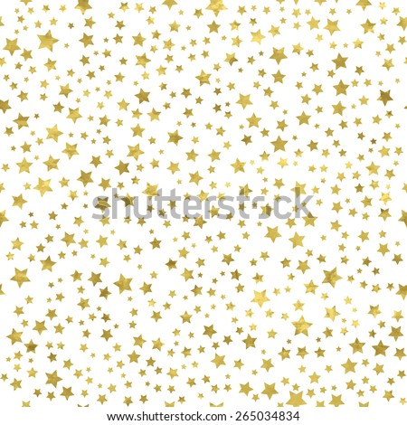 Abstract  white  modern seamless pattern with gold stars.   Vector illustration.Shiny background. Texture of gold foil. - stock vector