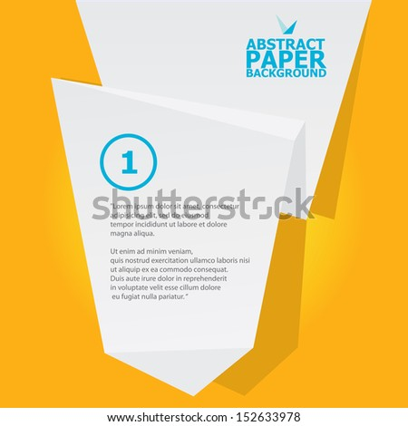 Abstract white origami paper banner on orange background. Vector origami Speech bubble. Vector abstract origami background for website or cover design. Orange stylish brochure for advertising. - stock vector