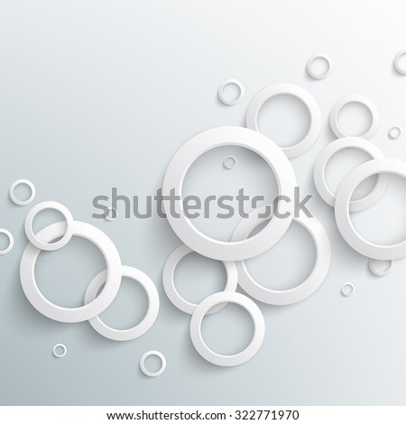 Abstract white paper circles on light background. Vector eps10 illustration - stock vector