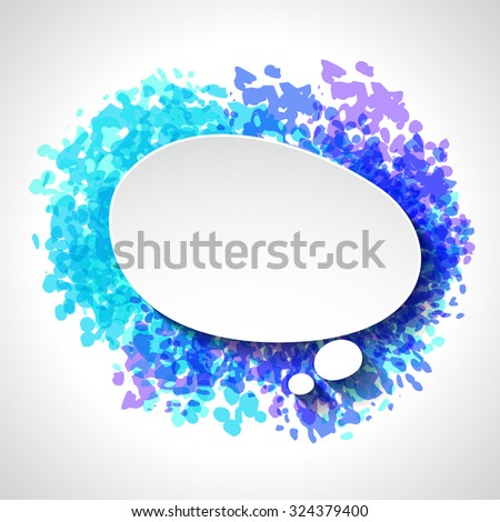 Abstract white paper speech bubble on color grunge background. - stock vector