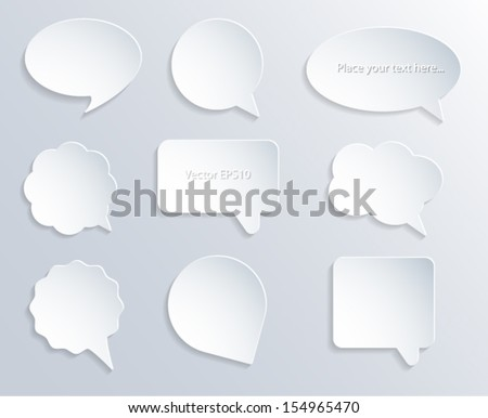 Abstract white paper speech bubbles. 3d design. Vector eps10.