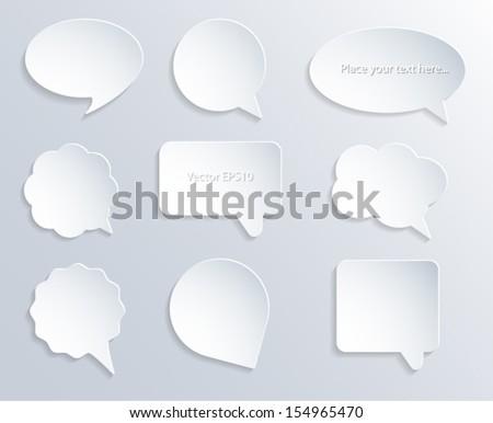 Abstract white paper speech bubbles. 3d design. Vector eps10. - stock vector