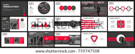 Abstract white, red presentation slides. Modern brochure cover design. Fancy info banner frame. Creative infographic elements set. Urban city font. Vector title sheet model. Ad flyer style template
