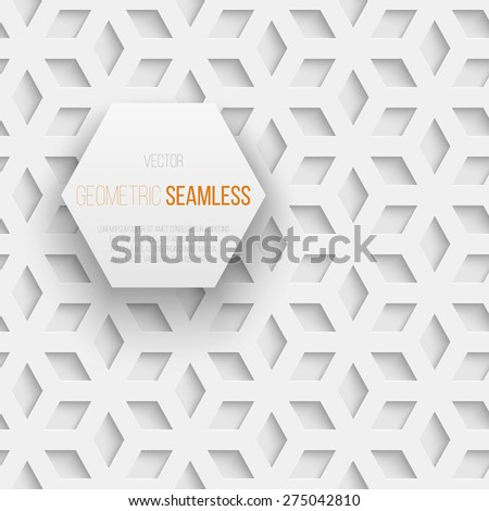 Abstract white seamless geometric cube pattern with shadow. Vector illustration - stock vector