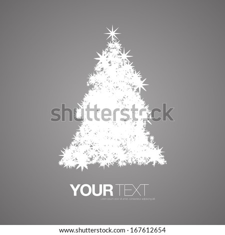 Abstract white snowflakes pattern christmas tree design  Eps 10 vector illustration  - stock vector