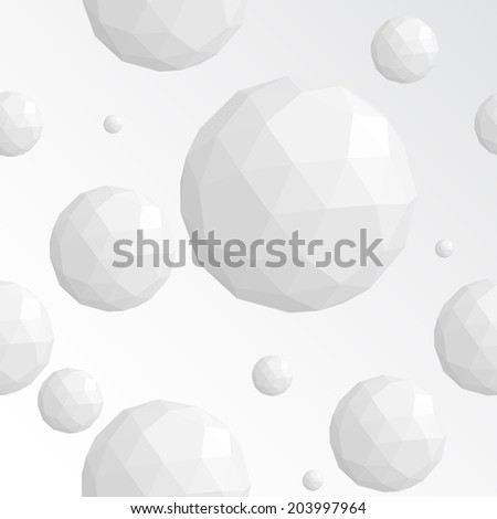 Abstract white sphere seamless vector pattern - stock vector