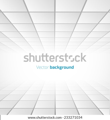 Abstract white tiled background with a perspective. Vector illustration - stock vector
