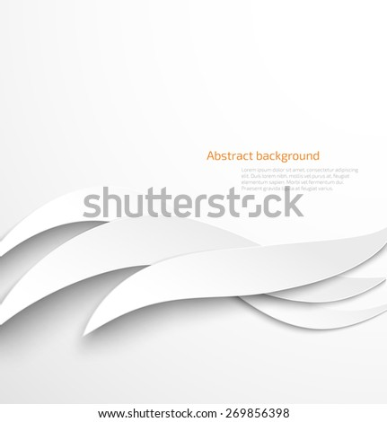 Abstract white waves background with drop shadow. Vector illustration - stock vector
