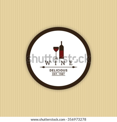 Abstract Wine label on a yellow background